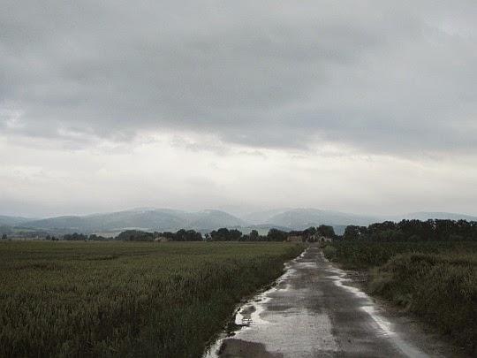 Droga z Lisich Kątów. Horyzont zamykają czeskie Rychlebské hory.