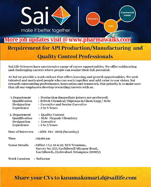 Sai Life sciences - Walk-in interview for Production / Manufacturing / QC on 26th October, 2019