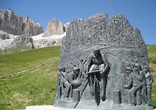The monument to Fausto Coppi at Passo Pordoi, a  mountain pass on the route of the Giro d'Italia