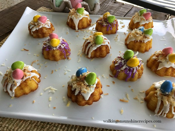 Mini Bundt Cakes from a Cake Mix for Easter on White Dish from Walking on Sunshine
