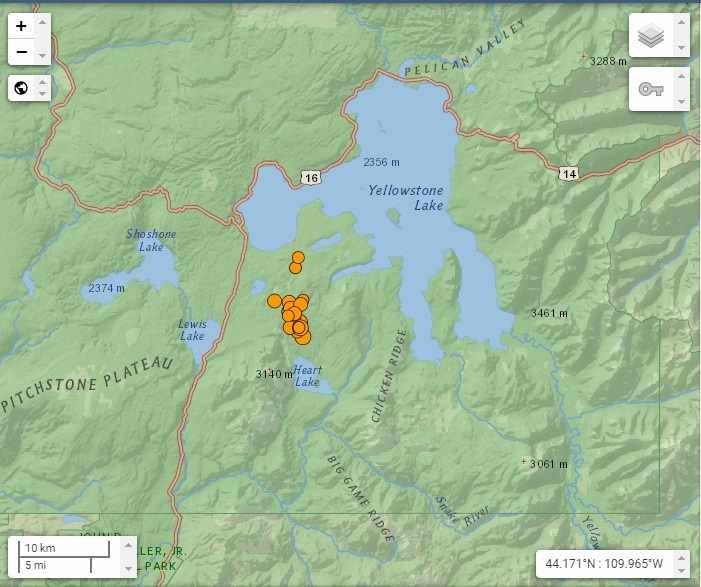 Enjambre de sismos en Yellowstone