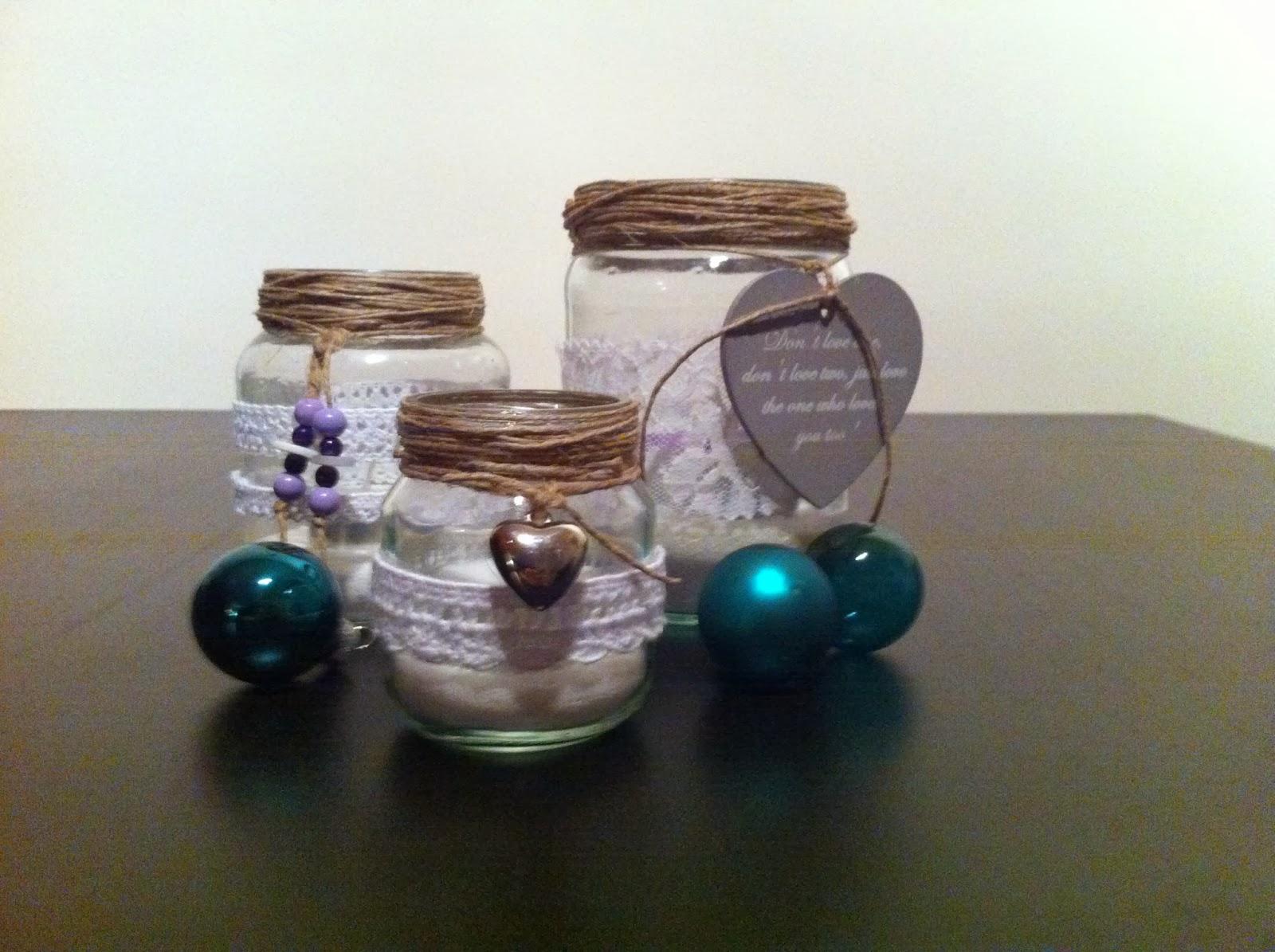 Geliefde Handmade Creations by Francis: Glazen potjes met kant versiert! @VV44