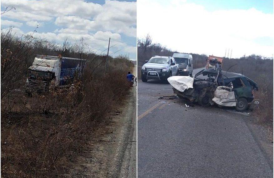 Acidente entre carro e caminhão da Banda 'Cavaleiros do Forró' deixa um morto