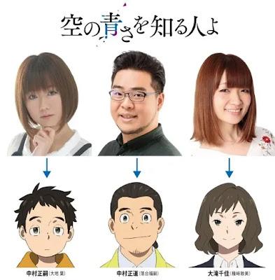 """Tres  nuevas voces para la película anime original """"Sora no Aosa o Shiru Hito yo""""."""