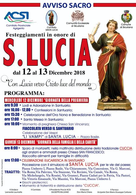 Festeggiamenti di Santa Lucia 2018