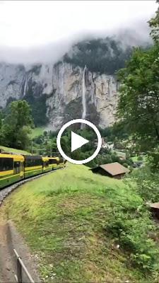 Beautiful train ride in Lauterbrunnen