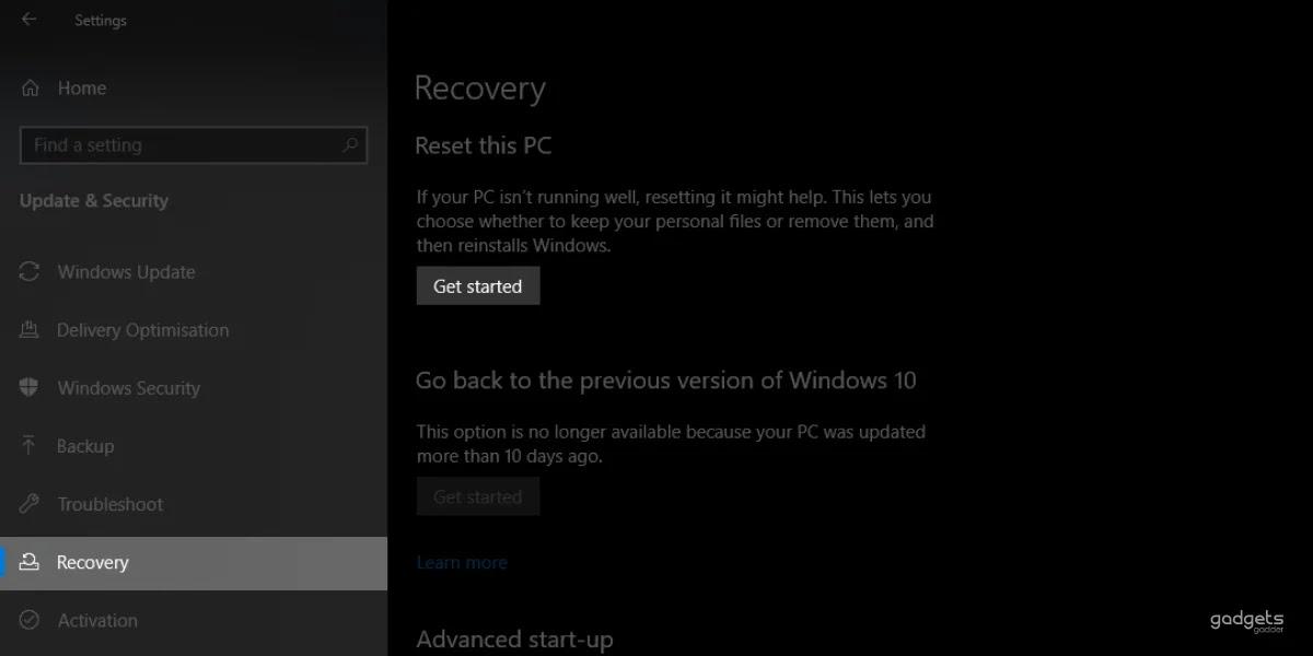 windows 10 factory reset