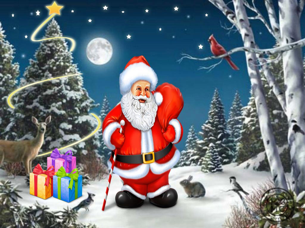 Celebrities Wallpaper Santa Claus With Christmas Tree New
