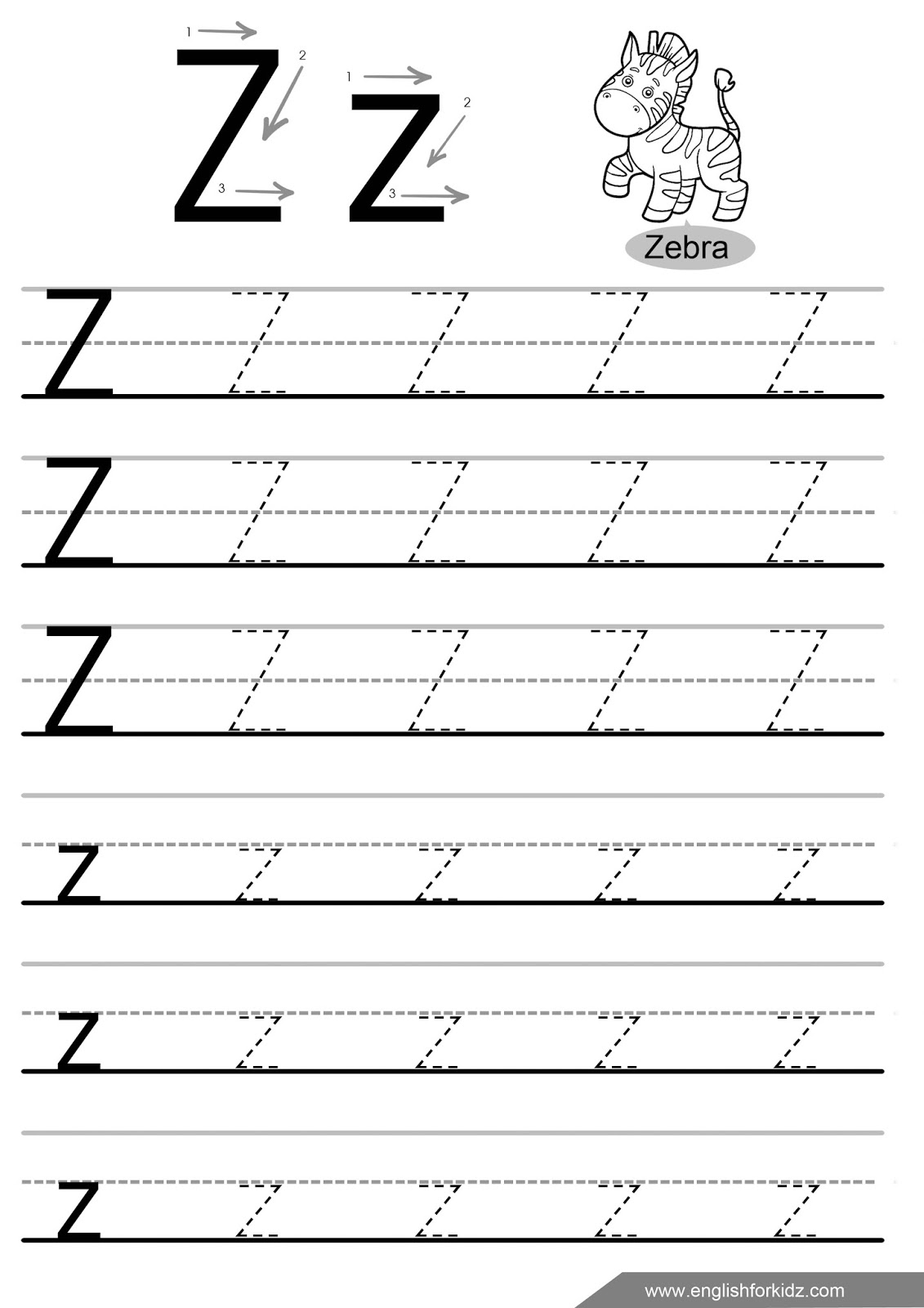 Printable Letters A Z Tracing Worksheets : Letter tracing worksheets letters u z