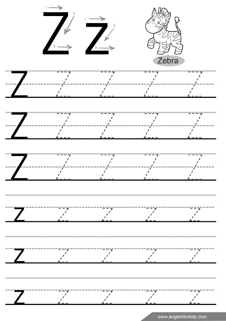 Letter z tracing worksheet, handwriting practise worksheet