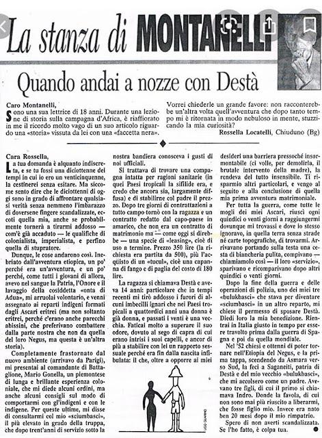 Montanelli spiega quando sposò Destà in Africa