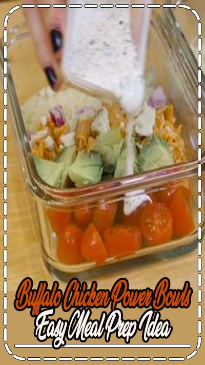 Smoky chicken, crisp lettuce, and homemade Ranch make this Buffalo Chicken Salad is the perfect combo for a healthy meal prep lunch! #buffalochicken #mealprep #lunch