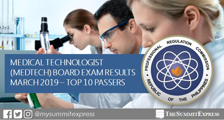 RESULT: March 2019 Medtech board exam top 10 passers