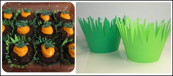 Grass Cupcake Wrappers  Peter Rabbit party supplies - Peter Rabbit Party Ideas - Peter Rabbit Party Theme  decorations - Peter Rabbit birthday party decorations - Peter Rabbit spring garden party decorating - garden party - Carrots Chocolate Candy molds  -  Carrot cake cookie molds - flower decorations - bunny party sweets - bunny party supplies