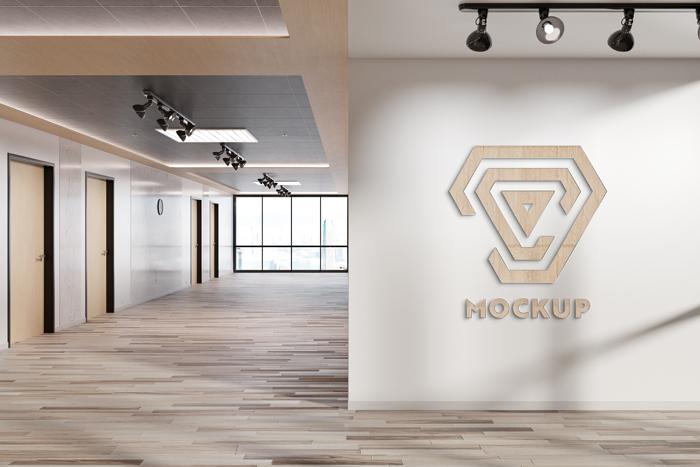 Logo Office Wall Mockup Template