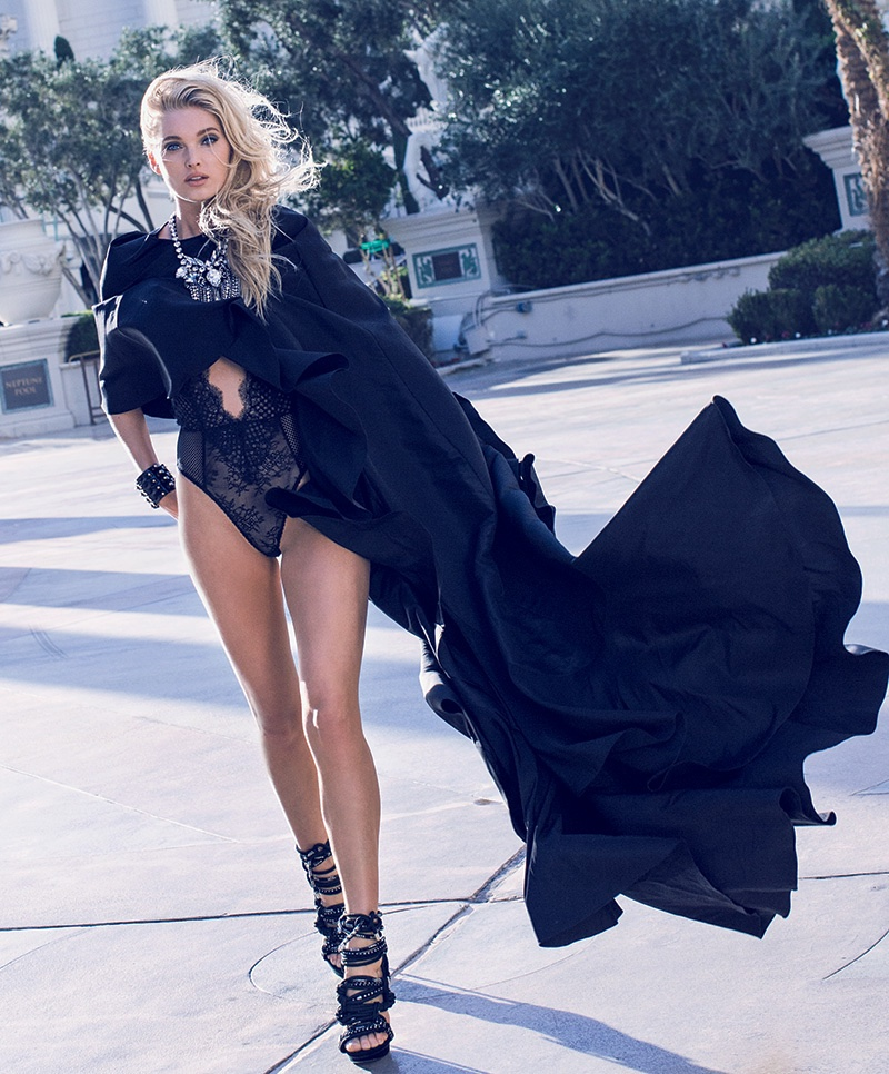 Elsa Hosk strips for Maxim Magazine February 2016