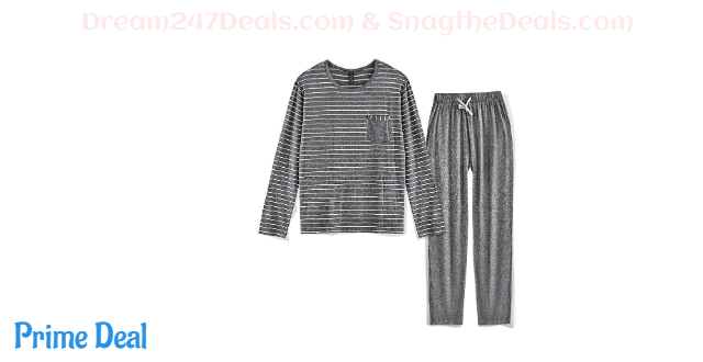 Pajama Set Long Sleeve Sleepwear Striped Grey Cotton 35%OFF