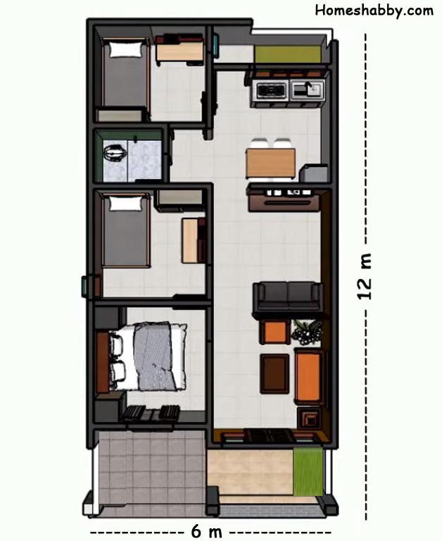 Desain Dan Denah Rumah Minimalis Modern Ukuran 6 X 12 M Tedapat 3 Kamar Tidur Yang Elegan Homeshabby Com Design Home Plans Home Decorating And Interior Design