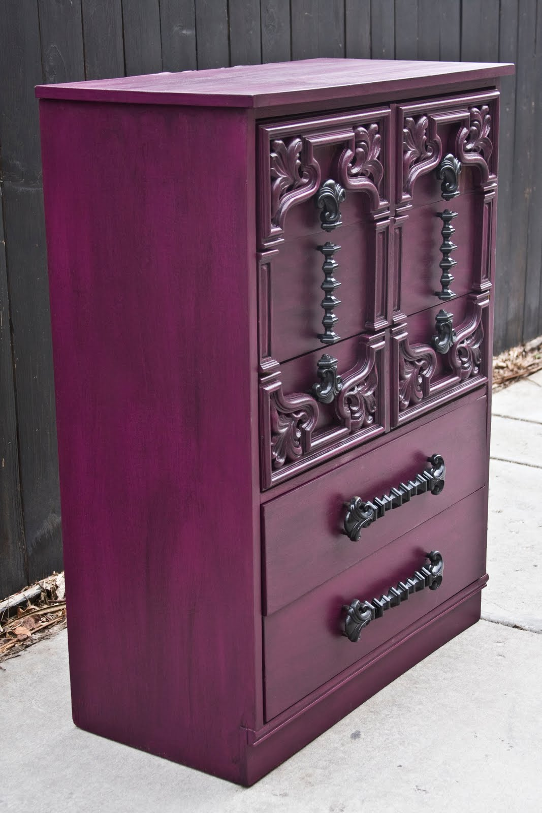 Modernly Shabby Chic Furniture: Purple And Black Highboy