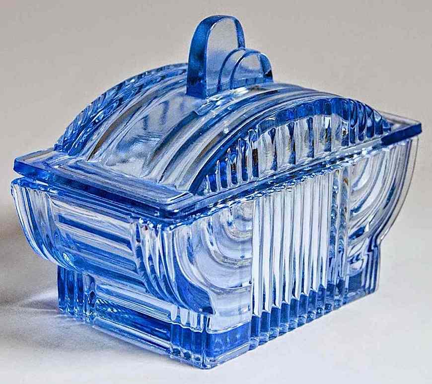 1930s blue glass bowl, a photograph