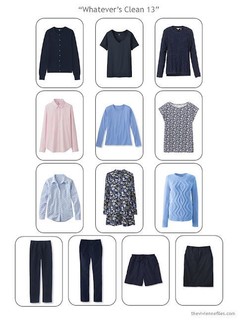 a Whatever's Clean 13 capsule wardrobe in inavy with pink and blue accents