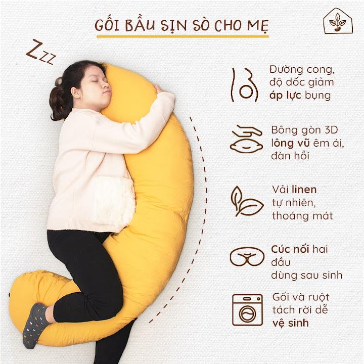 [A159] Gối Bà Bầu Đậu Khuyết cao cấp giúp Mẹ ngủ ngon, an toàn cho Con