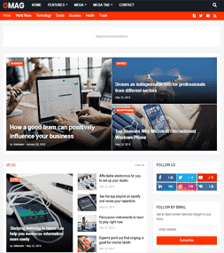 Chia sẻ giao diện blog tin tức GMag Template Premium