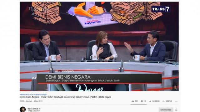 Di Mata Najwa, Erick Thohir Lamar Sandiaga Uno Masuk BUMN Urus Dana Pensiun