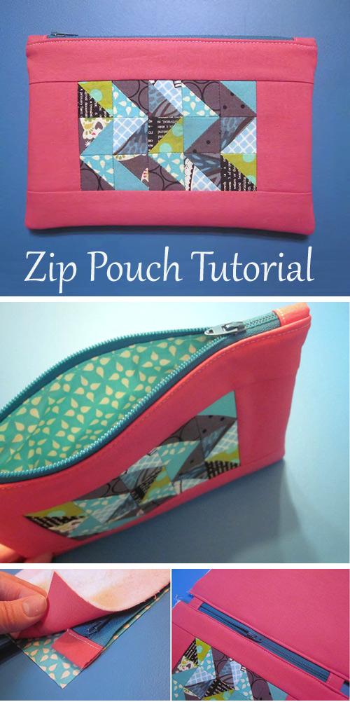 Half Square Triangle Zip Pouch Tutorial