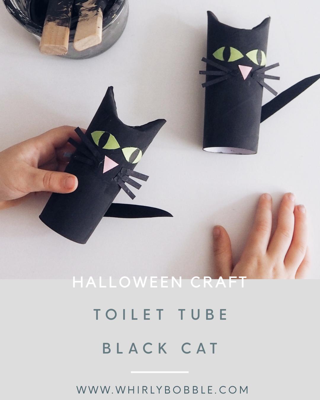 Toddler Halloween Craft - Toilet Tube Black Cat