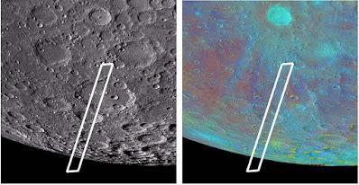Dos imagenes de la Luna tomadas con la nave Clementine. El sector marcado es donde SOFIA detectó el agua. La imagen color es en UV, que marca la composición química lunar.