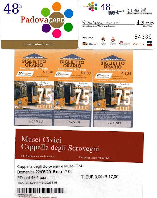 Padova Card e outros tickets