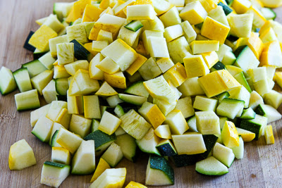 chopped squash - Zucchini and Yellow Squash Soup with Rosemary and Parmesan (Pressure Cooker or Stovetop) found on KalynsKitchen.com