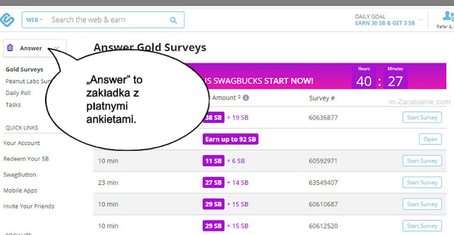 SwagBucks, zarabianie na ankietach.
