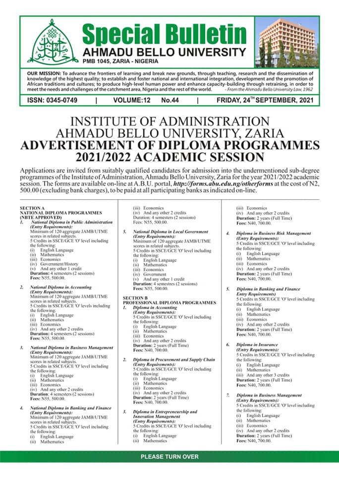 ABU IOA Diploma Programmes Admission Form 2021/2022