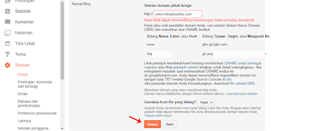Simpan Pengaturan Custom Domain di Blogger