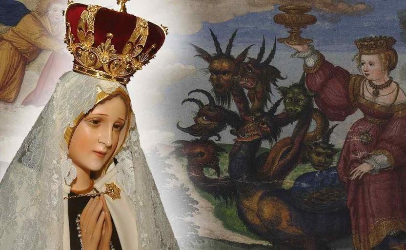 Nossa Senhora de Fátima luta contra a prostituta do Apocalipse que seduziu os poderes da Terra com a taça de todas as abominações
