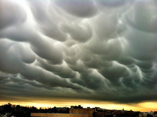 Mammatus clouds, rare formation of clouds, weather phenomena on earth