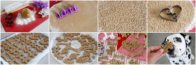 Step-by-step how to make patterned jigsaw puzzle dog treats