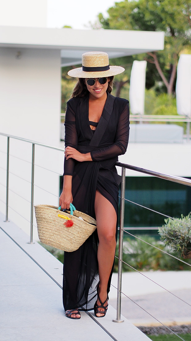Streetstyle - Black beach dress, straw hat, straw bag, ray ban sunnies and lemon jelly shoes. Casual Summer style