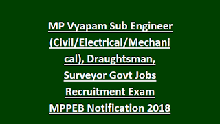 MP Vyapam Sub Engineer (Civil, Electrical, Mechanical), Draughtsman, Surveyor 1021 Govt Jobs Recruitment Exam MPPEB Notification 2018