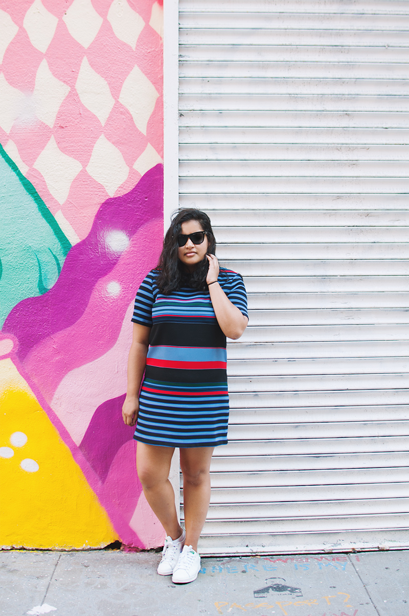 zara striped dress, adidas stan smith sneakers, dress with sneakers, outfit, street style