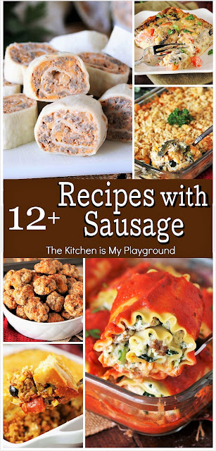 12+ Recipes to Make With a Pound of Sausage ~ A tasty collection of the BEST family-favorite sausage recipes! From party nibbles, to dips, to main dishes, soups, and more, they're sure to be delicious creations you'll love.  www.thekitchenismyplayground.com