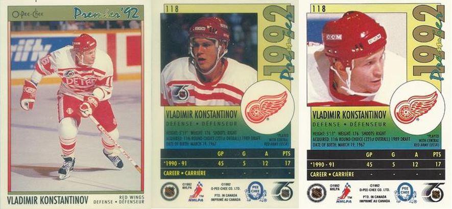 Cardboard On Ice Konstantinov Lidstrom 1991 92 Opc Premier Error Card