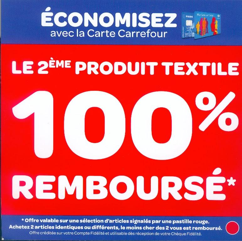mademoiselle bons plans carrefour le 2 me produit textile 100 rembourse. Black Bedroom Furniture Sets. Home Design Ideas