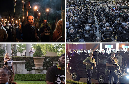 Grid of photos showing: 1) charlottesville nazis;  2) a huge squad of police in militarized riot gear; 3) a couple on their lawn aiming guns at peaceful protesters; 4) Kyle Rittenhouse