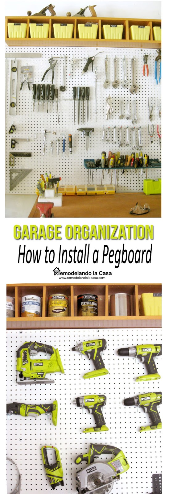 Ryobi tools organized on pegboard and how to install it.