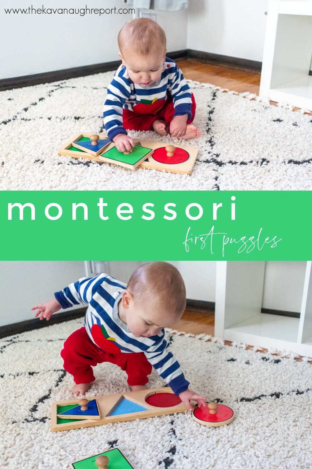 A look at the first puzzles to introduce to Montessori babies and toddlers. These simple, fun options are perfect to support a child's development.