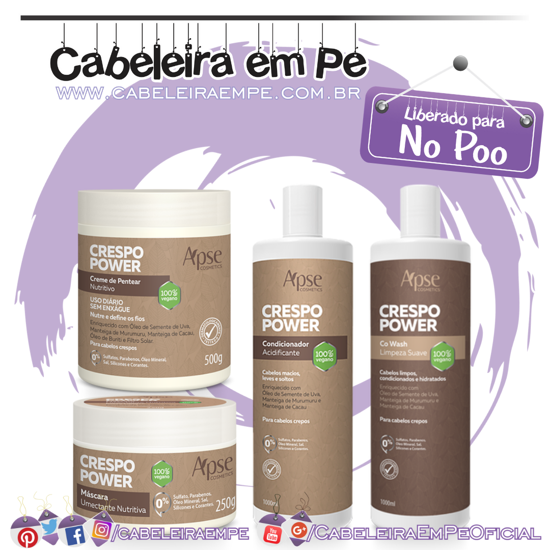 Co wash, Máscara, Condicionador Acidificante e Creme para Pentear Crespo Power - Apse (No Poo)