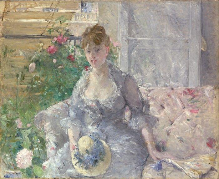 Молодая женщина, сидящая на диване, Берта Морисо
